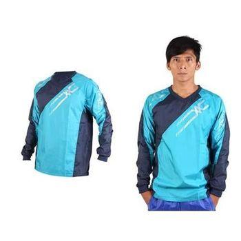 【MIZUNO】NXT系列 男長袖排球服 運動T恤 暖身服 平織 湖水藍丈青銀
