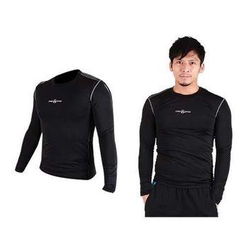 【FIRESTAR】男緊身長袖T恤-慢跑 路跑 運動T恤  黑