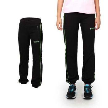 【FIRESTAR】女吸濕排汗束口長褲 -路跑 慢跑 健身 運動 休閒 黑螢光綠
