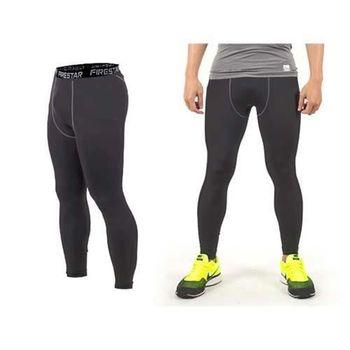 【FIRESTAR】男機能緊身長褲-慢跑 路跑 與NIKE PRO同版型  墨灰黑