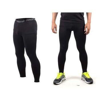 【FIRESTAR】男機能緊身長褲-慢跑 路跑 與NIKE PRO同版型  黑