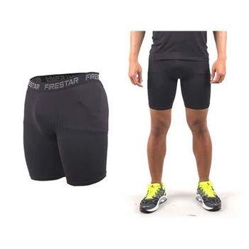【FIRESTAR】男機能緊身短褲-慢跑 路跑 運動短褲  麻灰黑