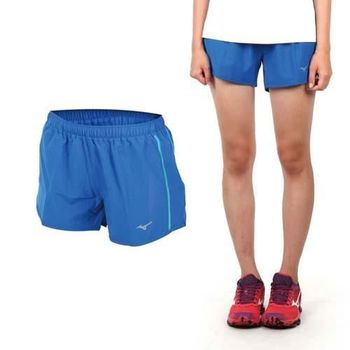 【MIZUNO】女路跑褲-短褲 慢跑短褲 美津濃  藍綠