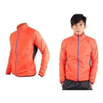 【MIZUNO】男防風外套-慢跑 路跑 立領 風衣 運動外套 美津濃 橘藍