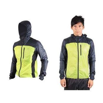 【MIZUNO】男防風外套 慢跑 路跑 風衣 運動外套 連帽外套 芥末綠丈青