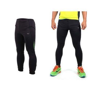 【MIZUNO】男刷毛緊身長褲-路跑 慢跑 束褲 緊身褲 保暖 黑綠