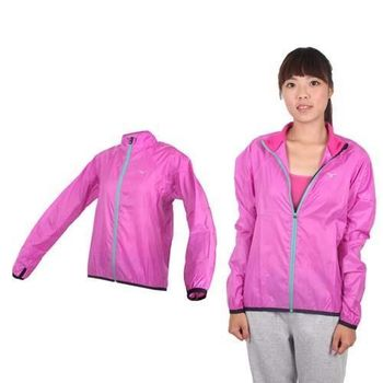 【MIZUNO】女路跑風衣- 慢跑 防風外套 立領 台灣製 美津濃 紫銀