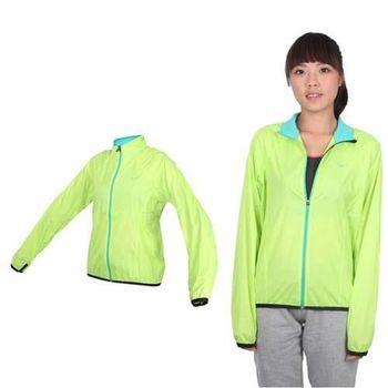 【MIZUNO】女路跑風衣- 慢跑 防風外套 立領 台灣製 美津濃 蘋果綠銀