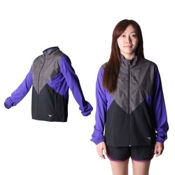 【MIZUNO】女路跑風衣 - 慢跑 防風 連帽外套 美津濃 黑灰紫