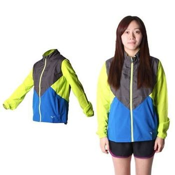 【MIZUNO】女路跑風衣 - 慢跑 防風 連帽外套 美津濃 黑藍芥末綠