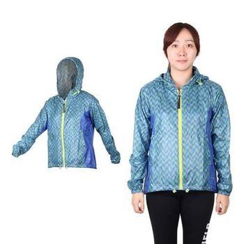 【MIZUNO】女路跑風衣 - 慢跑 連帽外套 美津濃 格紋藍綠