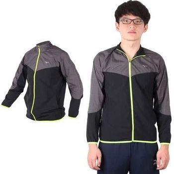 【MIZUNO】男路跑風衣 - 慢跑 立領外套 運動外套 美津濃 黑深灰