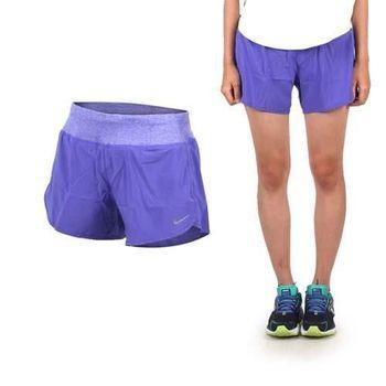 【NIKE】女運動短褲-慢跑 路跑 紫銀