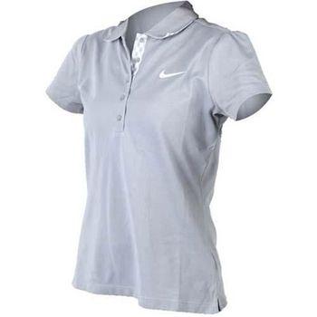 【NIKE】GOLF 女短袖POLO衫- 高爾夫球 休閒 吸濕排汗 灰白
