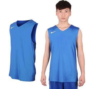 【NIKE】男運動背心-針織 籃球背心 慢跑 路跑 水藍白