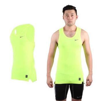 【NIKE】PRO 男緊身背心-針織 健身 重量訓練 慢跑 路跑 無袖 螢光黃黑