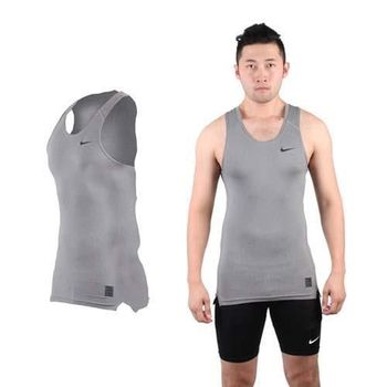 【NIKE】PRO 男緊身背心-針織 健身 重量訓練 慢跑 路跑 無袖 灰黑
