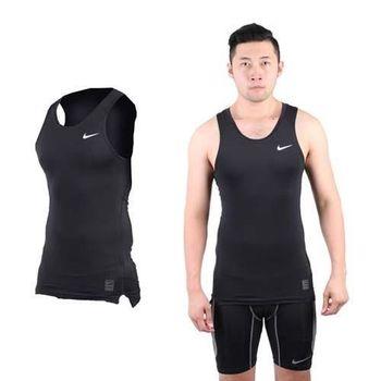 【NIKE】PRO 男緊身背心-針織 健身 重量訓練 慢跑 路跑 無袖 黑白