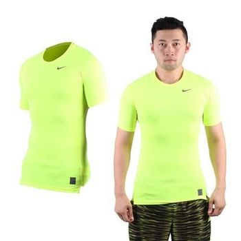 【NIKE】PRO 男短袖緊身衣-路跑 慢跑 健身 重訓 螢光黃黑