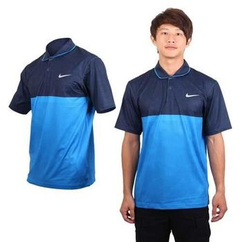 【NIKE】GOLF 男快速排汗短袖POLO針織衫 - 高爾夫 寶藍丈青