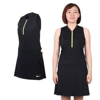 【NIKE】GOLF 女快速排汗連衣裙- 附短褲 高爾夫 運動 黑螢光黃