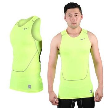 【NIKE】PRO COMBAT 男緊身背心-慢跑 路跑 重訓 健身 螢光黃灰