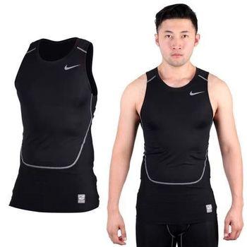 【NIKE】PRO COMBAT 男緊身背心-慢跑 路跑 重訓 健身 黑灰
