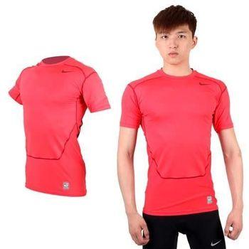 【NIKE】PRO COMBAT 男短袖緊身衣-針織 健身 重訓 緊身T恤 玫紅