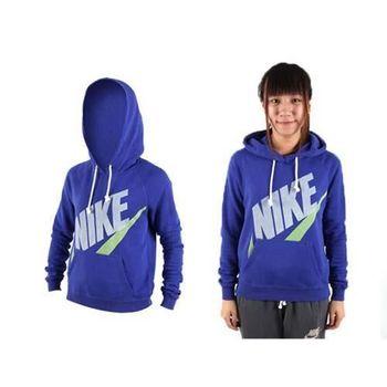 【NIKE】女長袖T恤-針織 連帽T恤 休閒長T恤  藍綠