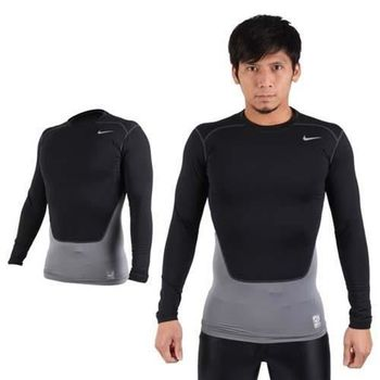 【NIKE】PRO COMBAT 男長袖緊身衣-保暖 慢跑 健身 緊身T恤 黑銀