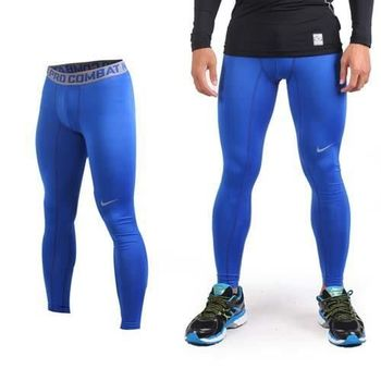 【NIKE】男緊身長褲-彈力長褲 慢跑 路跑 三鐵 緊身褲 藍灰