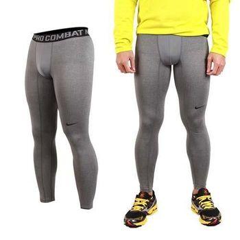 【NIKE】男緊身長褲-彈力長褲 慢跑 路跑 三鐵 緊身褲 灰黑