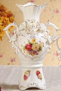 陶瓷白花瓶擺件高檔歐式奢華客廳創意裝飾花瓶(高)