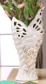 歐式插花浮雕蝶戀花陶瓷器花瓶擺件家居飾品