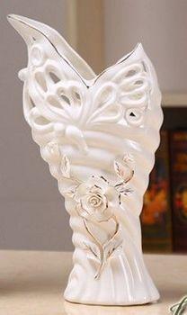 歐式插花浮雕蝶戀花陶瓷器花瓶擺件家居飾品(小)