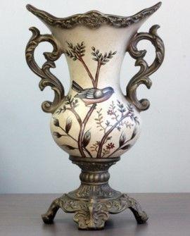 歐式美式鄉村復古樹枝花鳥陶瓷裝飾花瓶
