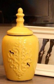 歐式古典地中海黃色陶瓷冰裂釉裝飾花瓶儲物罐