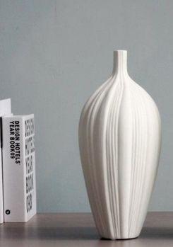 高大豎紋優雅線條磨砂素燒陶瓷花瓶擺件