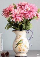 歐式法式鄉村復古單耳小鳥彩繪冰裂花瓶