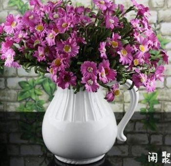 歐式白色高溫陶瓷水壺花插花瓶