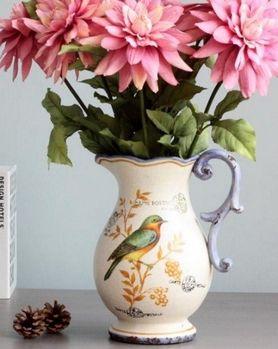 歐式法式鄉村復古單耳小鳥彩繪冰裂紋花瓶