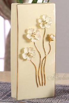 歐式花瓶小雛菊手工雕花描金現代陶瓷高檔擺件(大)