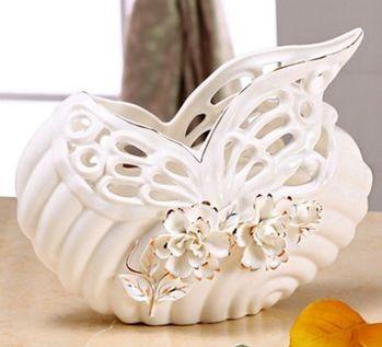 歐式插花浮雕蝶戀花陶瓷器花瓶擺件