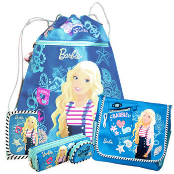 【BARBIE】芭比快樂水手束口袋文具超值組