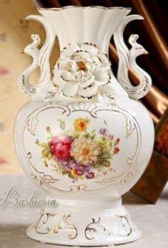 歐式花瓶奢華高檔復古陶瓷家居裝飾品插花擺件(圓)