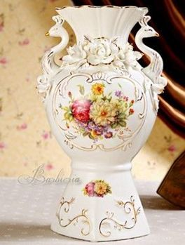 歐式花瓶奢華高檔復古陶瓷家居裝飾品插花擺件(方)