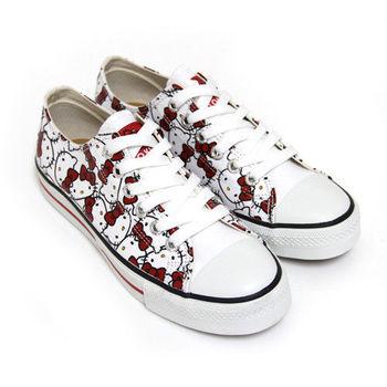 【HELLO KITTY】經典滿版凱蒂貓印花帆布鞋-白紅