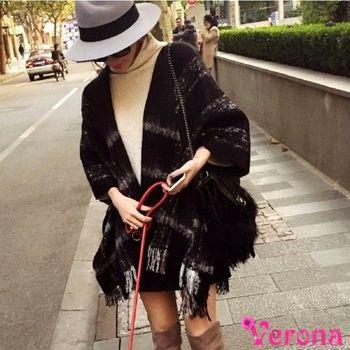 【Verona】羊絨格紋流蘇保暖披肩圍巾斗篷