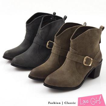 ☆Love Girl☆復古擦色V型靴口搭扣素面短靴