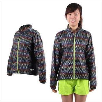 【MIZUNO】女運動外套-慢跑 路跑 風衣 立領 美津濃  彩虹黑